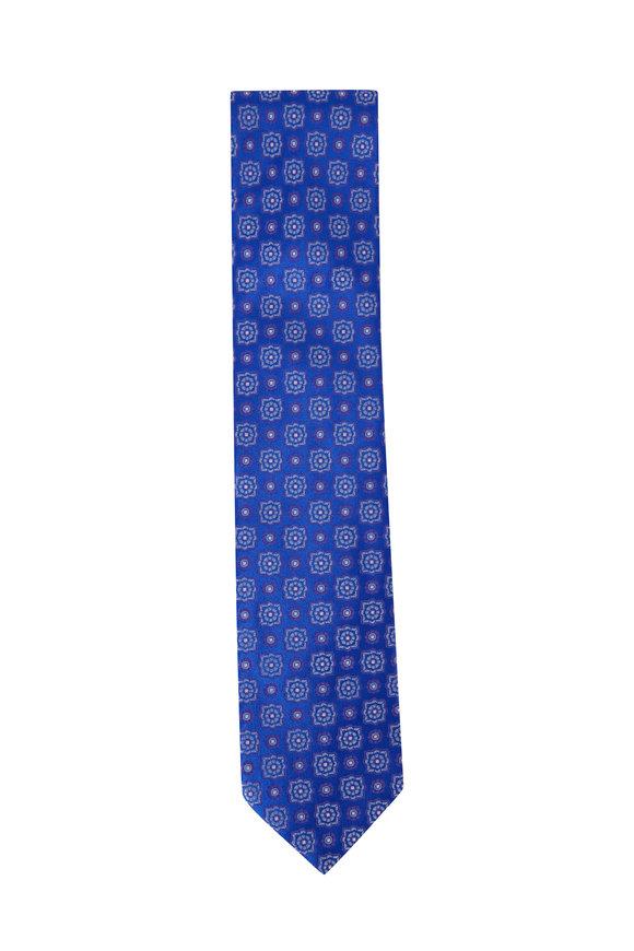 Eton Blue Floral Silk Necktie