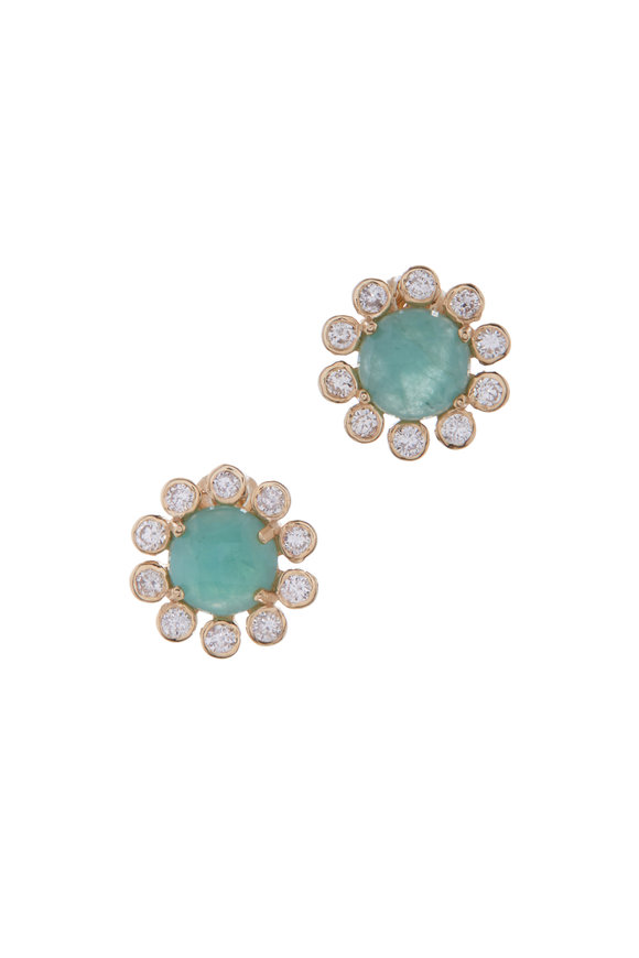 Loriann Yellow Gold Emerald & Diamond Studs