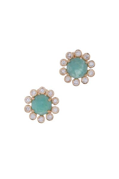 Loriann - Yellow Gold Emerald & Diamond Studs