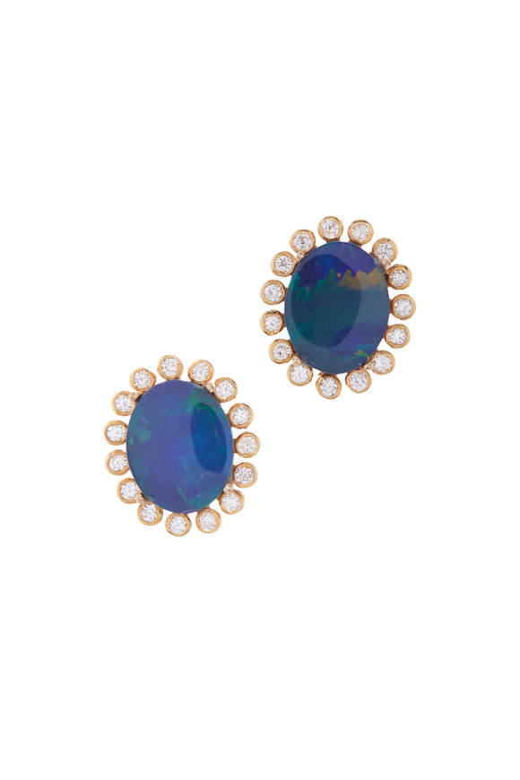 Loriann Yellow Gold Small Australian Opal & Diamond Studs