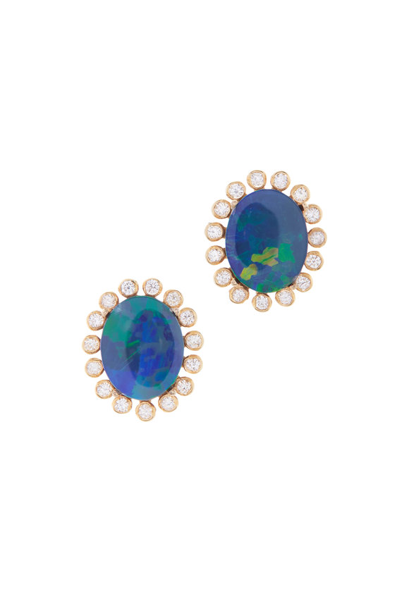 Loriann 18K Yellow Gold Australian Opal & Diamond Studs