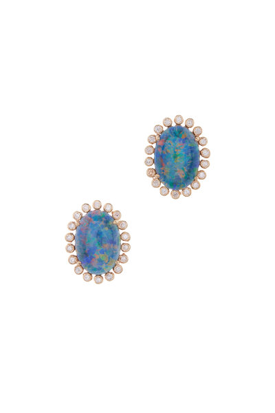 Loriann - Medium Australian Opal & Diamond Studs