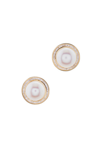 Loriann - 18K Yellow Gold Pearl & Diamond Studs