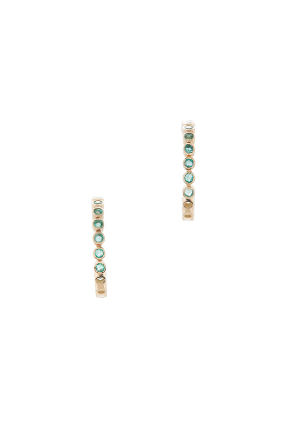 Loriann 14K Yellow Gold Emerald & Diamond Hoops