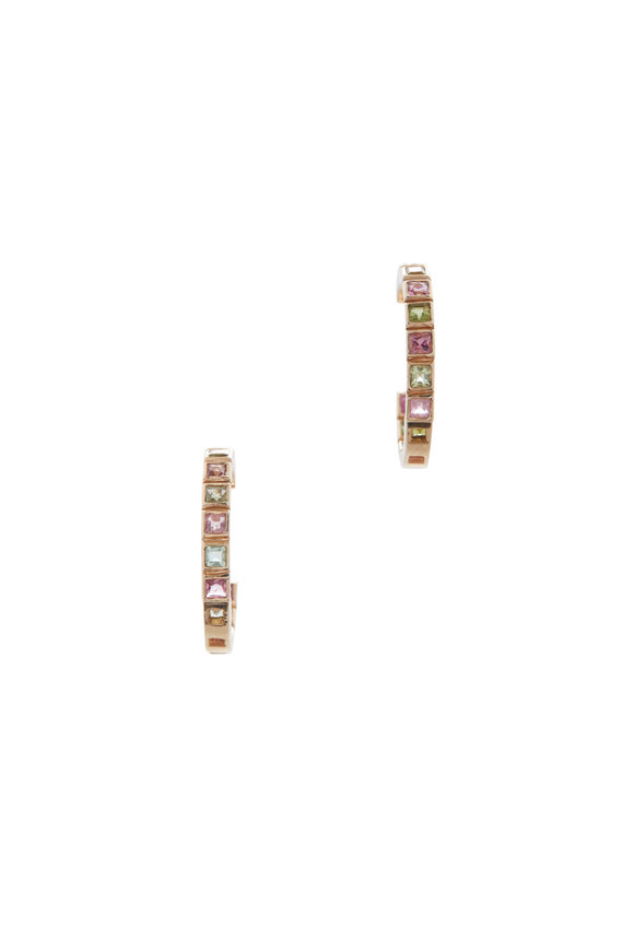 Loriann 14K Yellow Gold Square Tourmaline Hoops