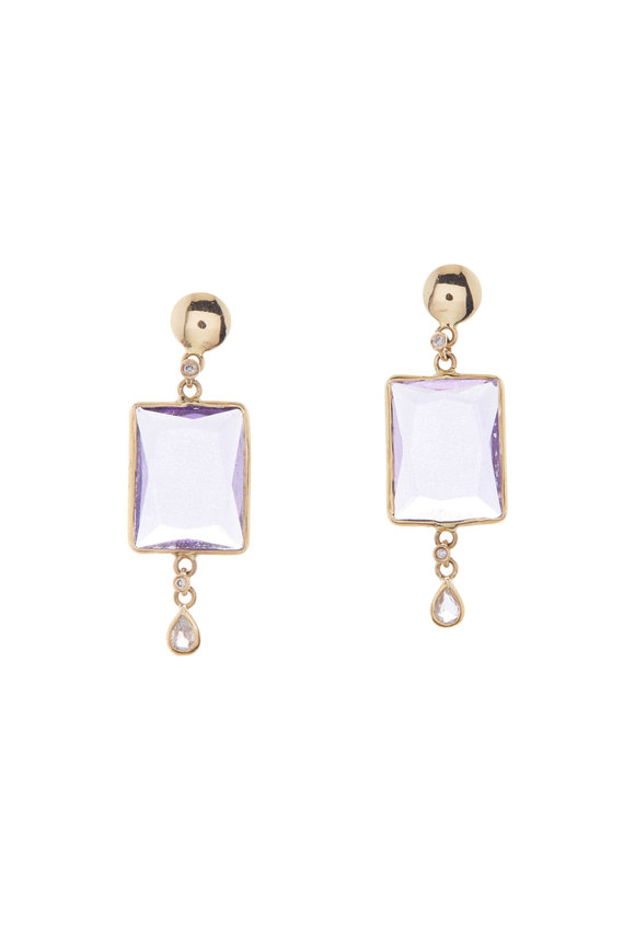 Loriann Pink Amethyst & Sapphire Dangle Earrings