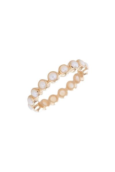 Loriann - 18K Yellow Gold Freshwater Pearl Bezel Ring