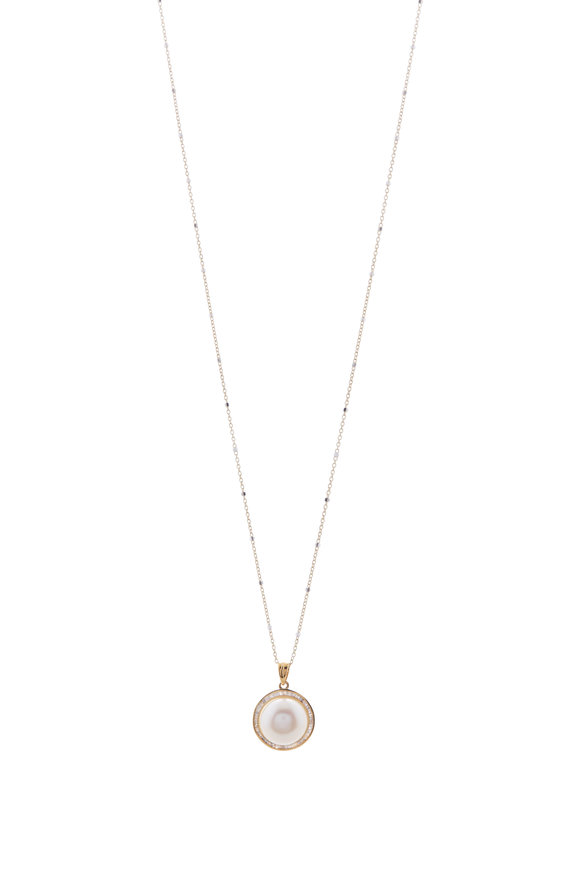 Loriann Yellow Gold Freshwater Pearl & Diamond Necklace