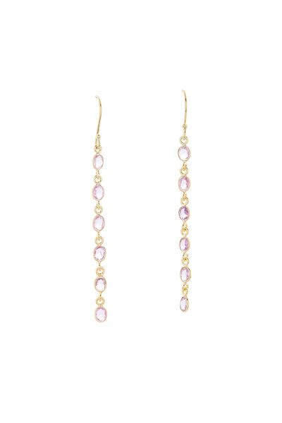 Loriann - 18K Yellow Gold Pink Sapphire Cascade Earrings
