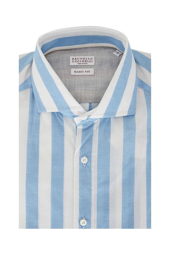 Brunello Cucinelli Blue & White Bold Stripe Basic Fit Sport Shirt