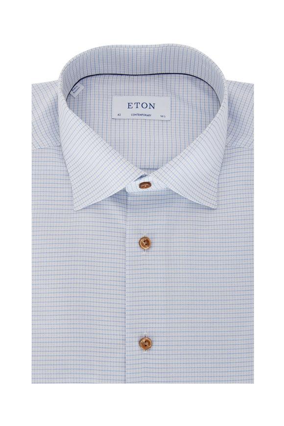 Eton Blue Soft Micro Check Contemporary Fit Sport Shirt