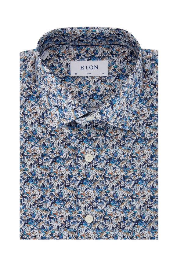 Eton Blue Stainglass Floral Slim Fit Sport Shirt