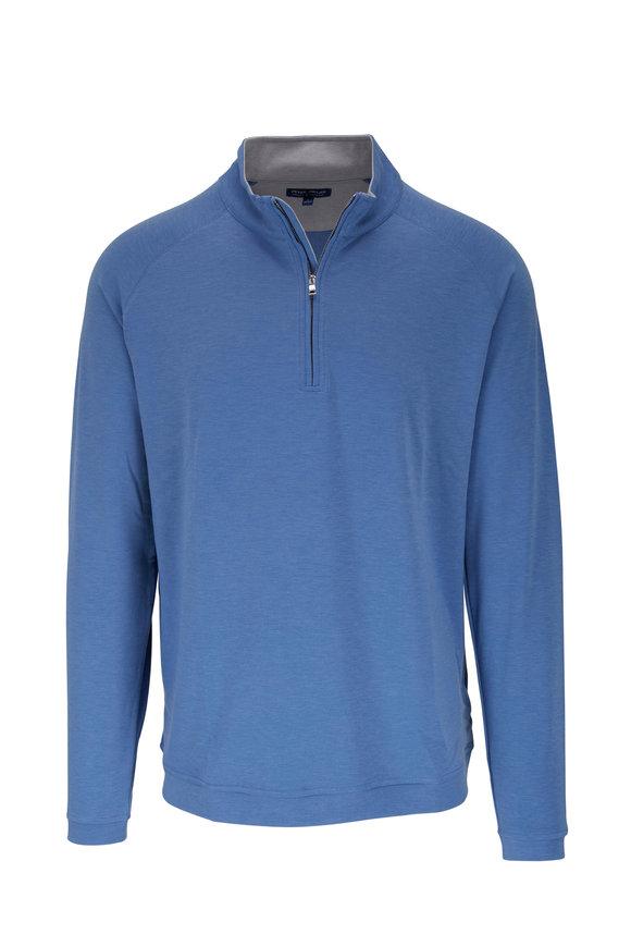 Peter Millar Lunar Blue Textured Quarter-Zip Pullover