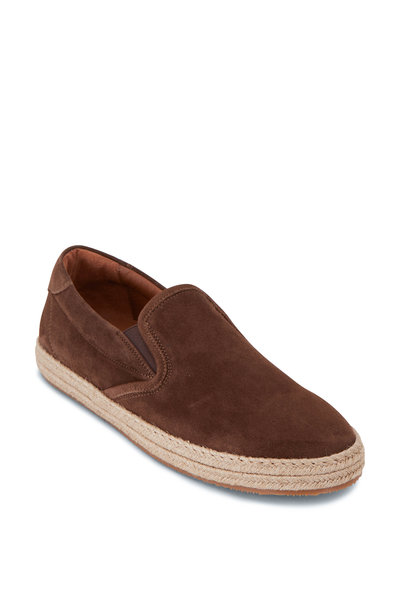 Aquatalia - Matt Taupe Suede Slip On Espadrille