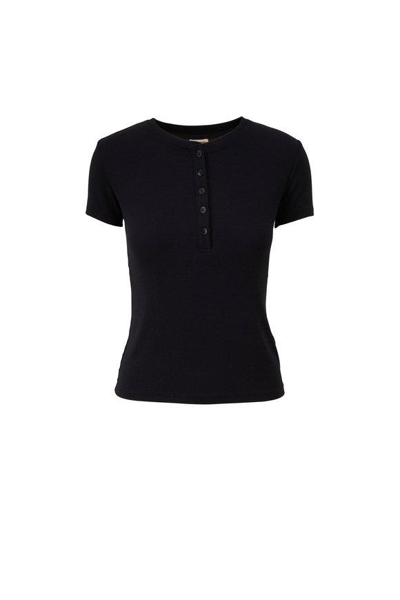 L'Agence Violet Black Short Sleeve Henley