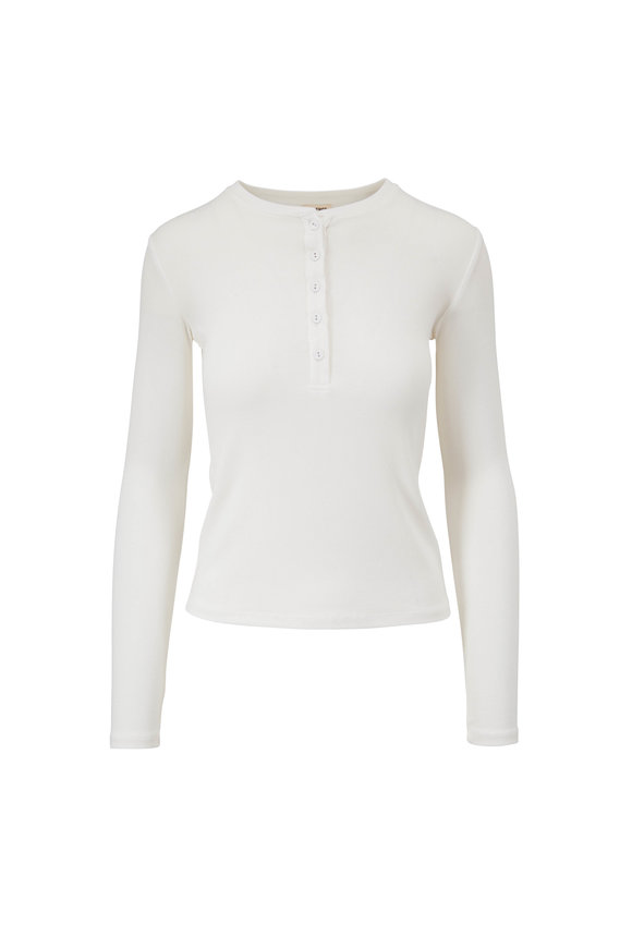 L'Agence Faith White Long Sleeve Henley