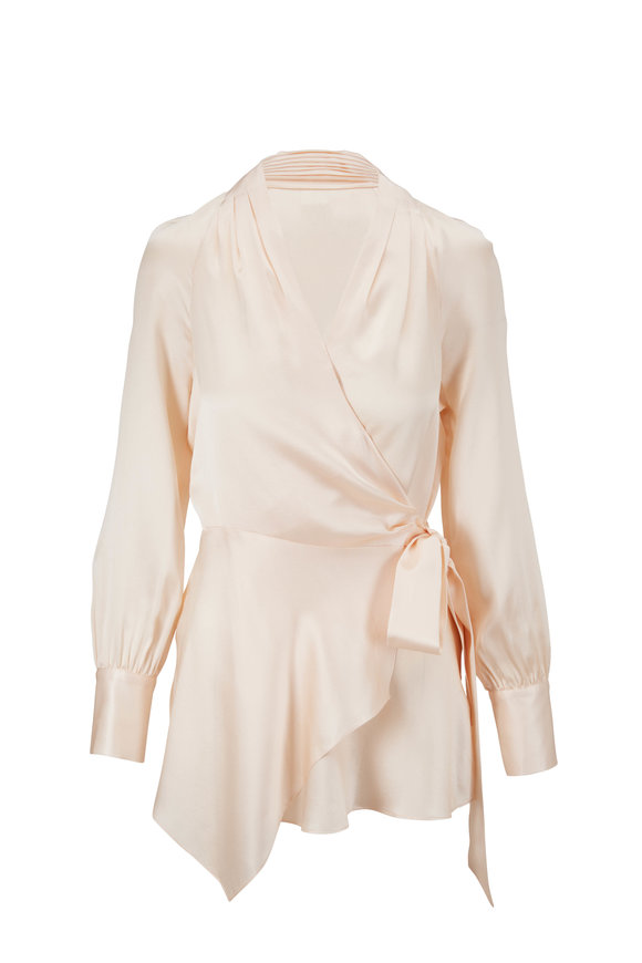 Veronica Beard Viv Cream Silk Wrap Top