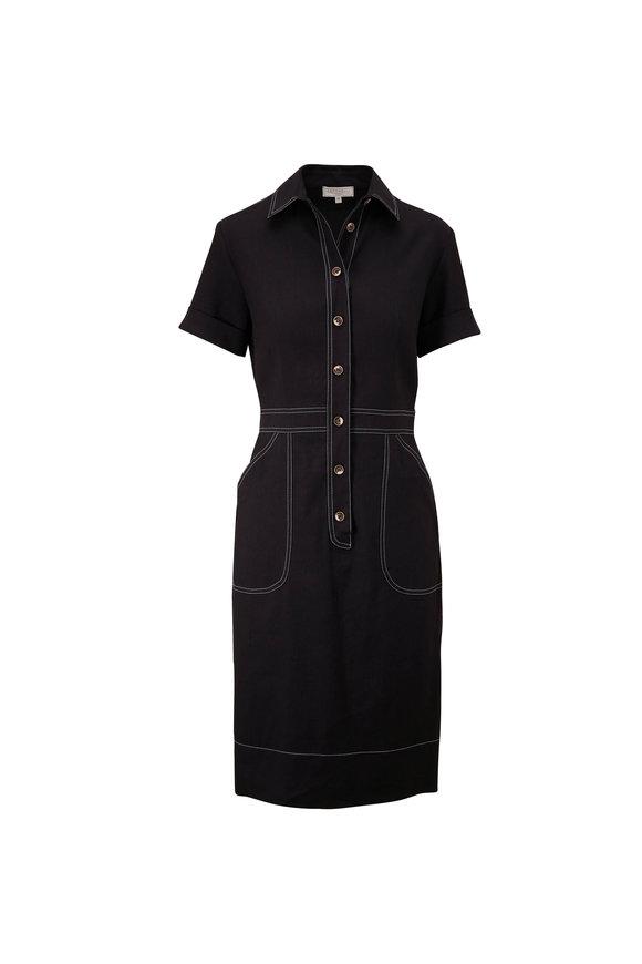 Antonelli Novella Black Linen Shirt Dress