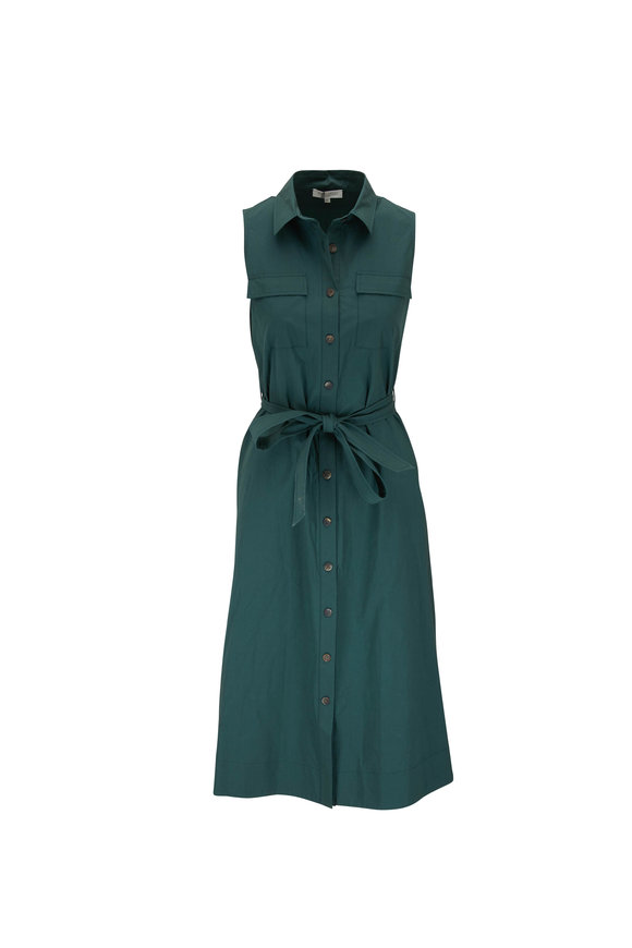 Antonelli Magda Teal Sleeveless Belted Shirt Dress
