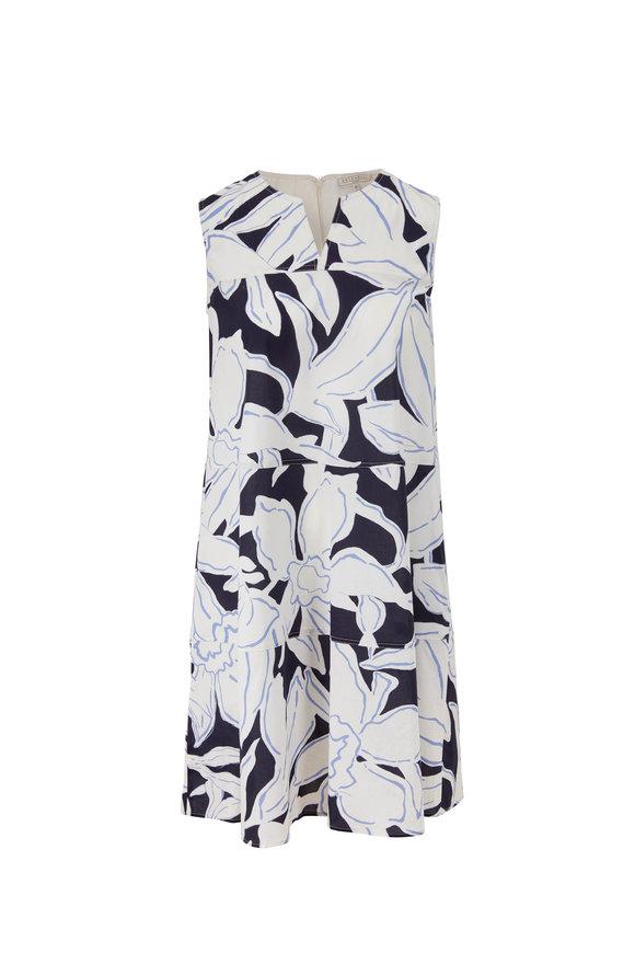 Antonelli Miranda Blue Printed Sleeveless Shift Dress