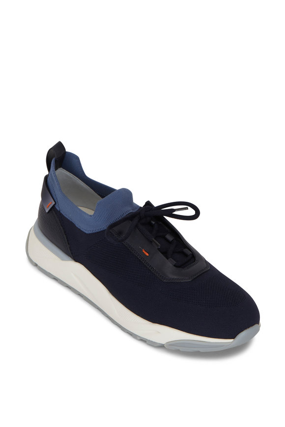Santoni Boar Navy Blue Knit Sneaker