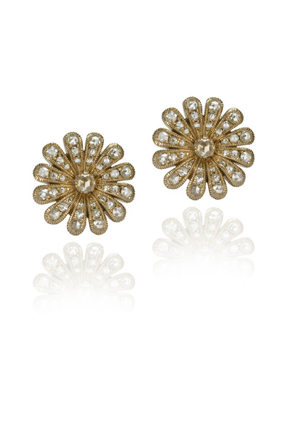 Nam Cho - White Gold Diamond Flower Earrings