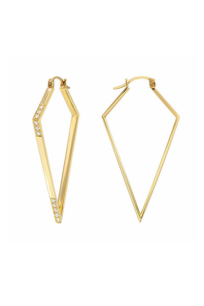 Dru - 14K Yellow God Diamond Amulet Hoops