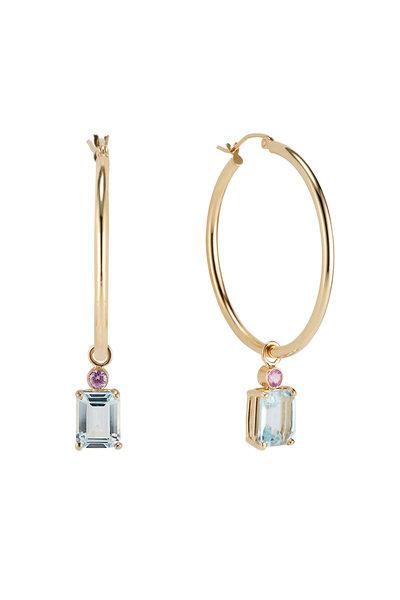 Dru - 14K Gold Aquamarine & Sapphire Charm Earrings