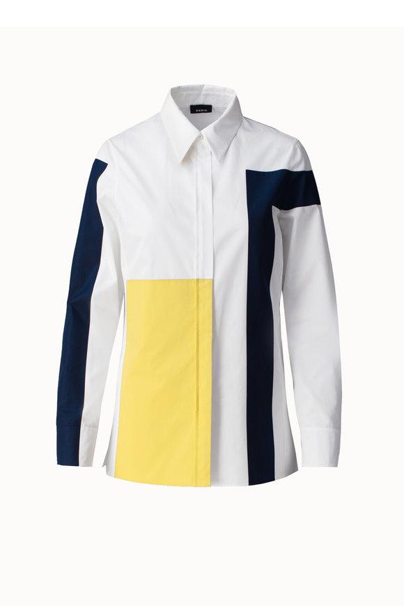 Akris Beige, Yellow & Blue Color Block Blouse