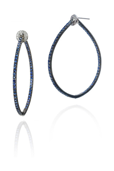 Nam Cho - Yellow Gold Blue Sapphire Hoop Earrings