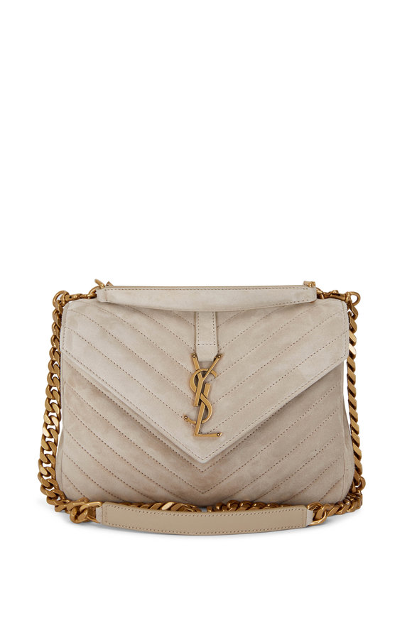 Saint Laurent College Sea Salt Suede Medium Chain Bag