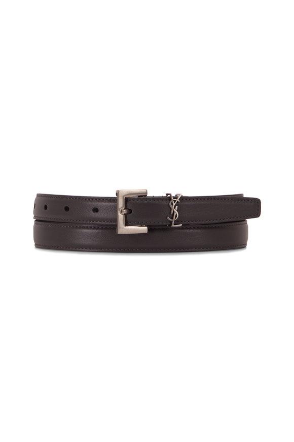 Saint Laurent Storm Gray Leather Logo Belt