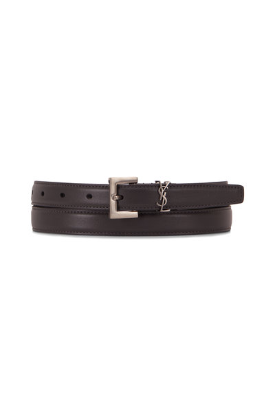 Saint Laurent - Storm Gray Leather Logo Belt