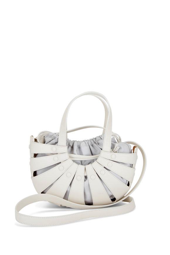 Bottega Veneta The Shell Frost & White Leather Mini Basket Bag