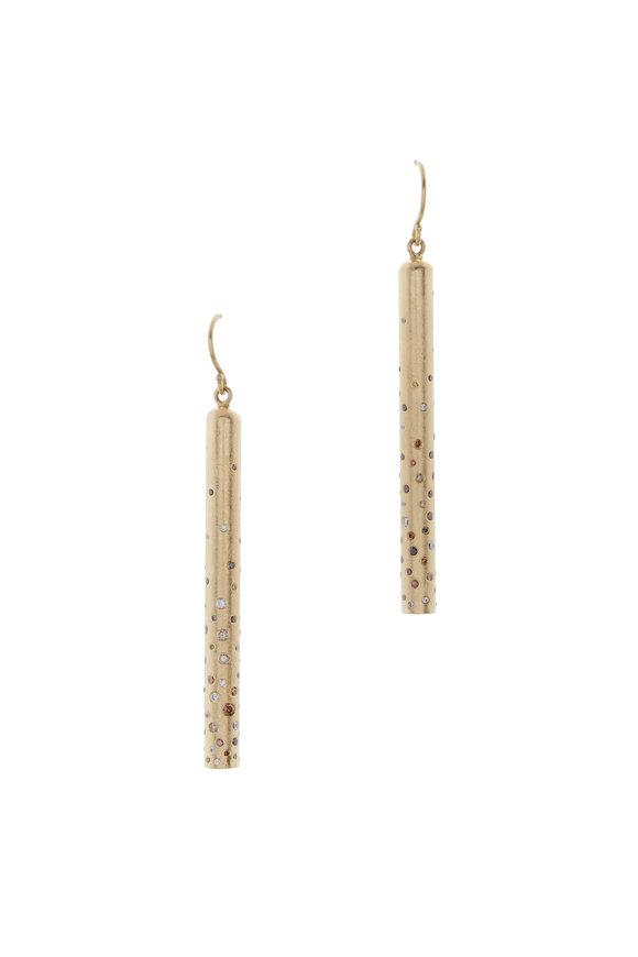 Todd Reed Yellow Gold White & Autumn Diamond Stick Earrings