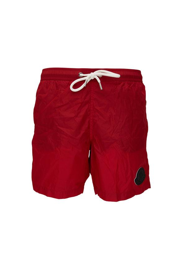 Moncler Red Logo Swim Trunks