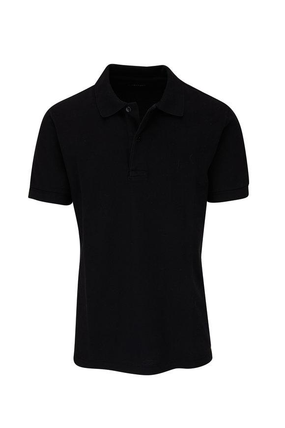 Tom Ford Black Short Sleeve Piqué Tennis Polo