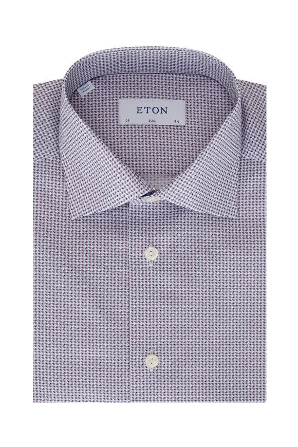 Eton Burgundy Mini Paisley Slim Fit Sport Shirt