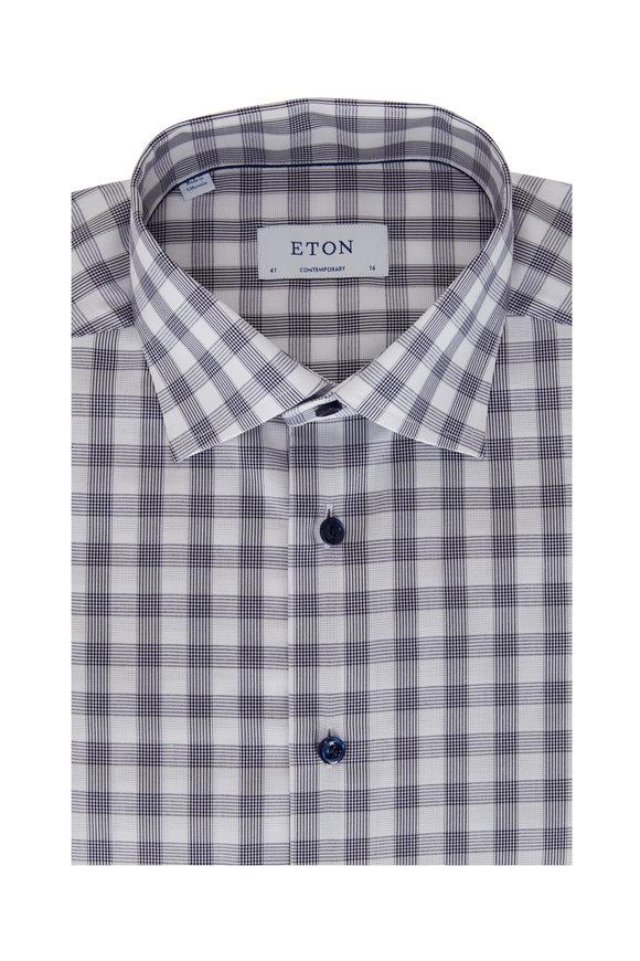 Eton Blue Bold Gingham Contemporary Fit Sport Shirt