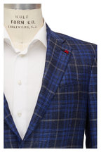 Isaia - Navy Check Wool, Silk & Linen Sportcoat
