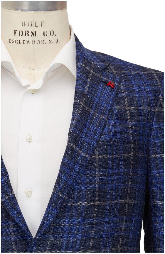 Isaia Navy Check Wool, Silk & Linen Sportcoat