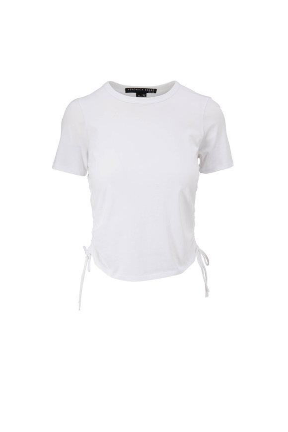 Veronica Beard Tazi White Drawstring Sides T-Shirt