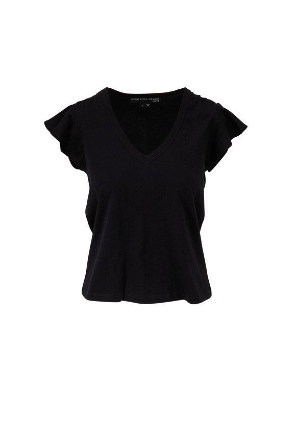 Veronica Beard Mesa Black Flutter Sleeve T-Shirt
