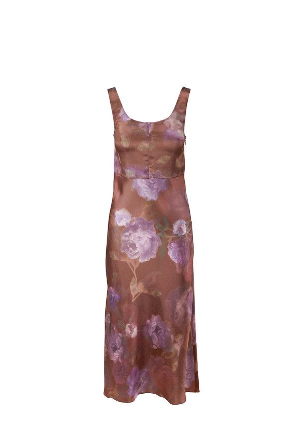 Vince Night Garden Square Neck Sleeveless Dress