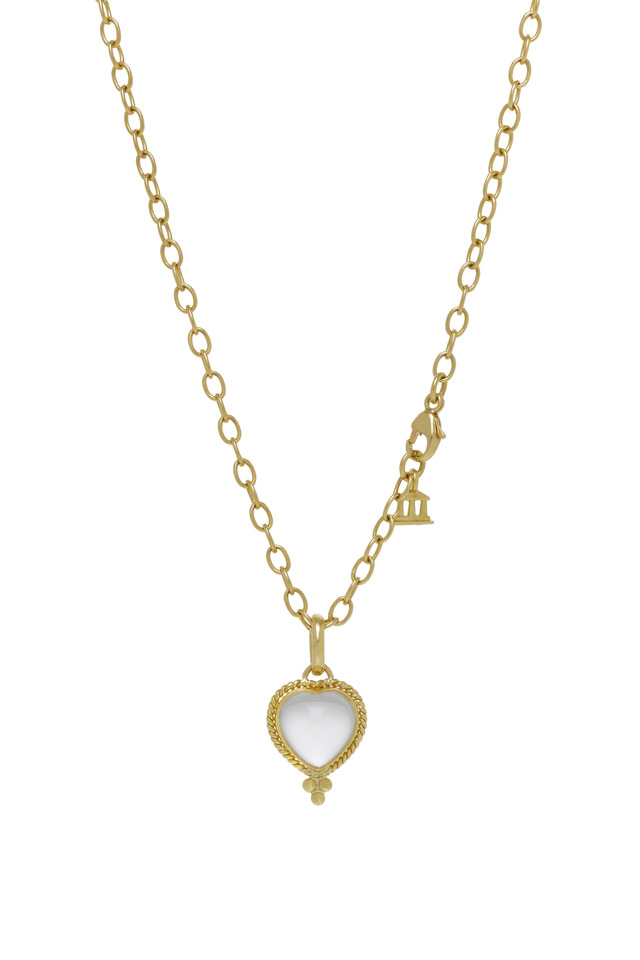 Braided Crystal Heart Gold Pendant