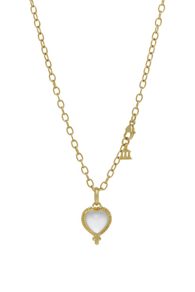 Temple St. Clair - Braided Crystal Heart Gold Pendant