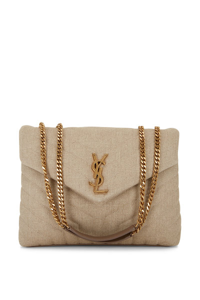Saint Laurent - Loulou Natural Linen Medium Shoulder Bag