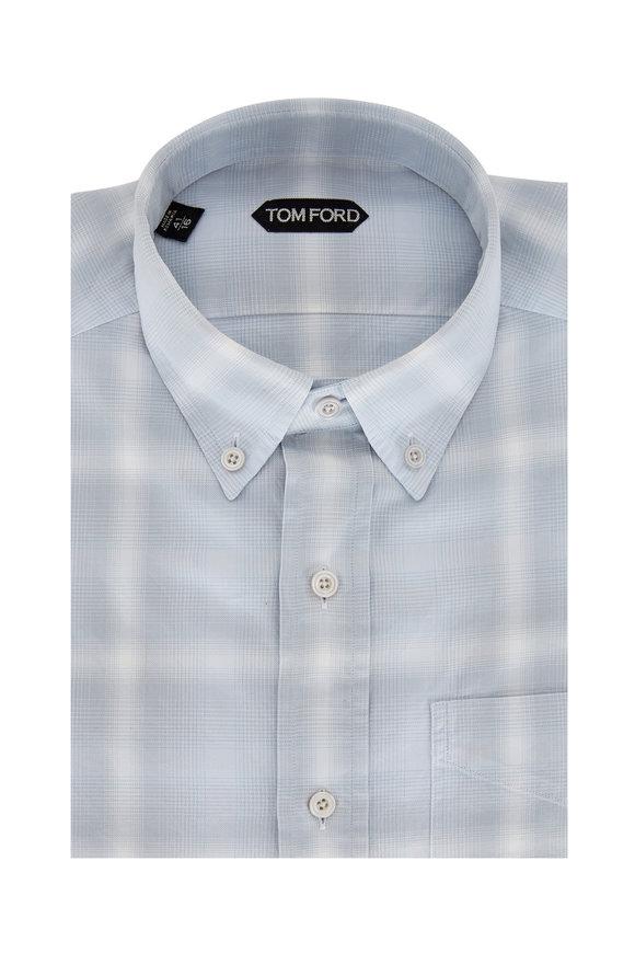 Tom Ford Pale Blue Check Sport Shirt