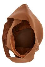 The Row - Bindle Three Caramel Grained Leather Hobo
