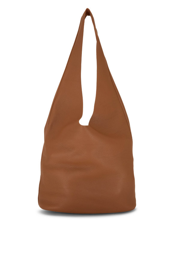 The Row Bindle Three Caramel Grained Leather Hobo